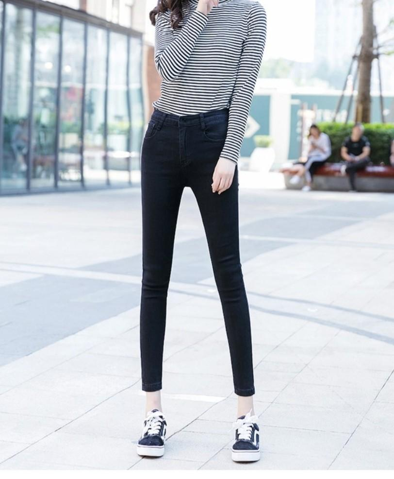 High Waist Elastic Black Jeans / Jeggings
