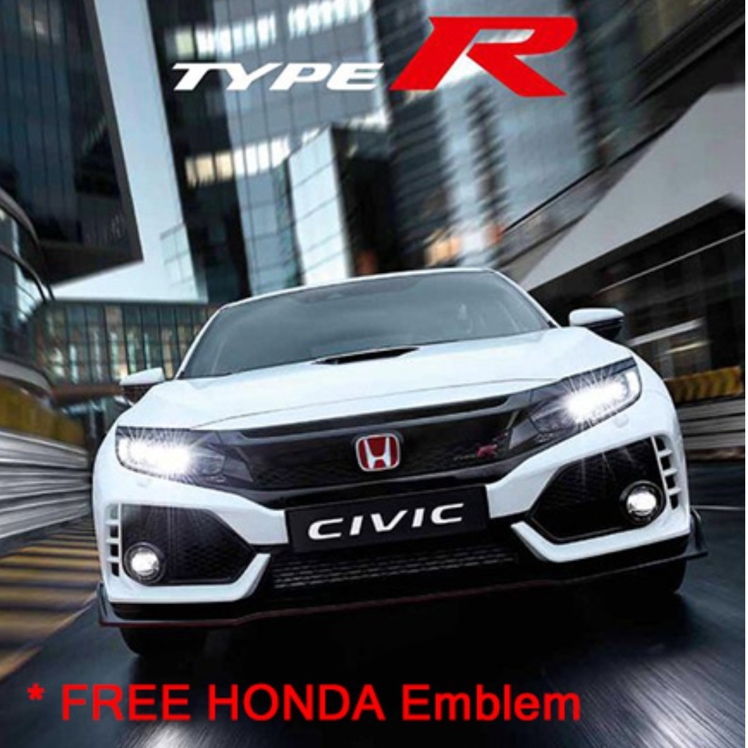 honda civic fc type r front bumper (free honda red emblem), car  accessories, accessories on carousell