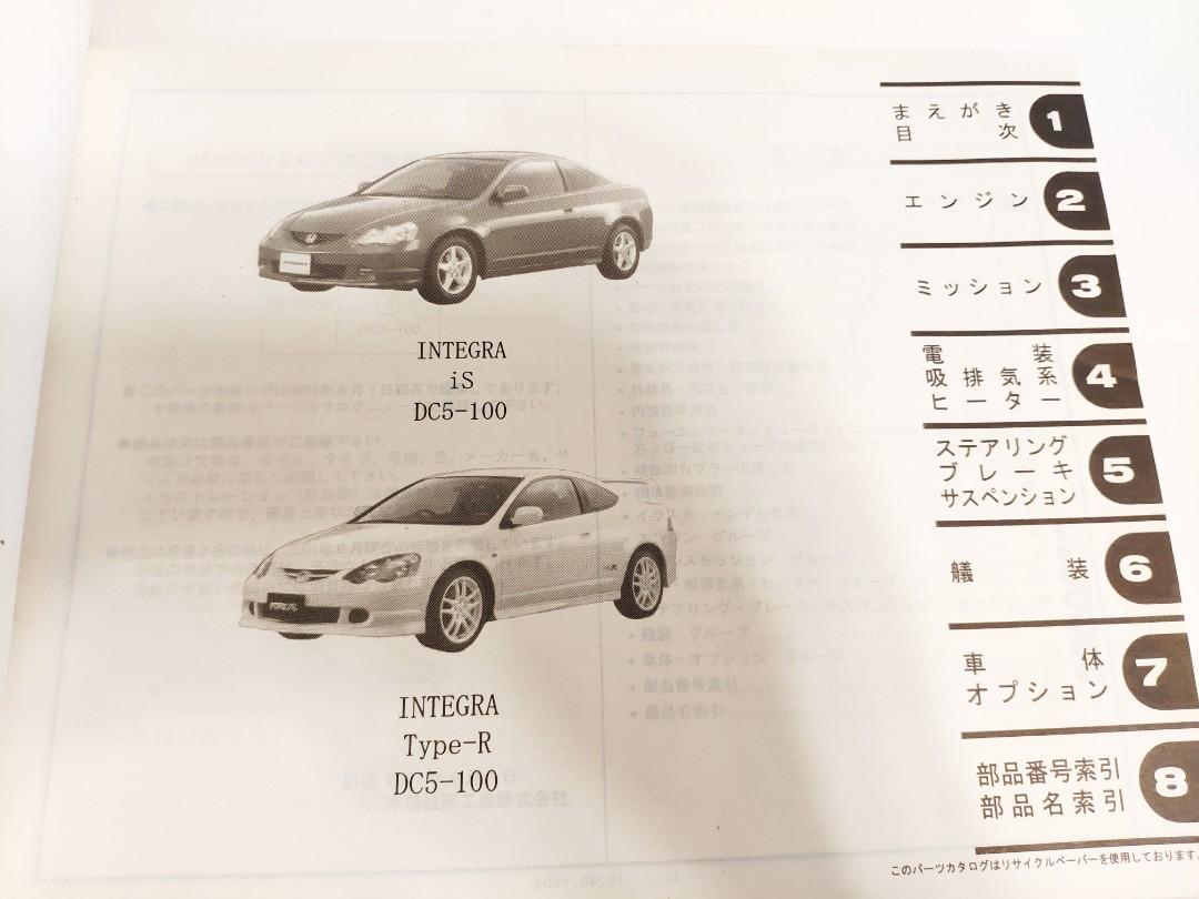 激罕Honda型格DC5日本正廠零件天書