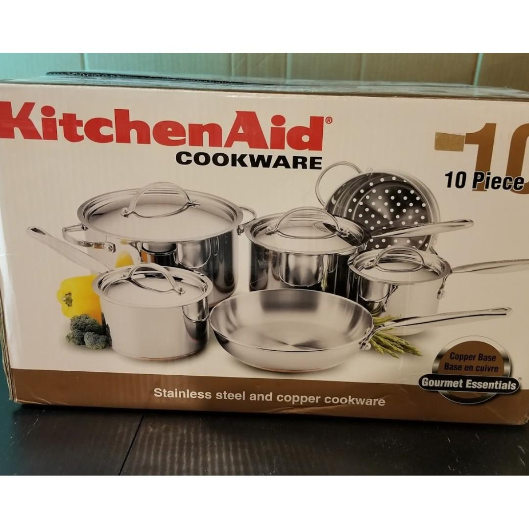 KitchenAid 10 pieces Stainless Steel & Copper Cookware Set