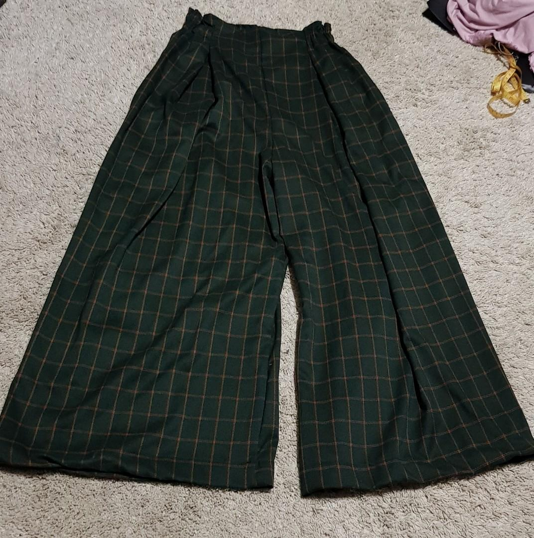 Lara set    TEM wandie velvet crop cami in gold/tan/brown and Forest green and yellow checkered/grid/plaid wide legged elastic waist Palazzo Pants korean ulzzang