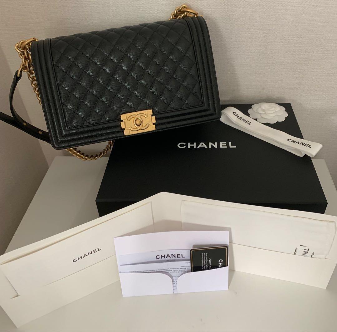 65120b0e35bd ♧️Like New in Box with original Chanel receipt - Black Chanel Boy ...