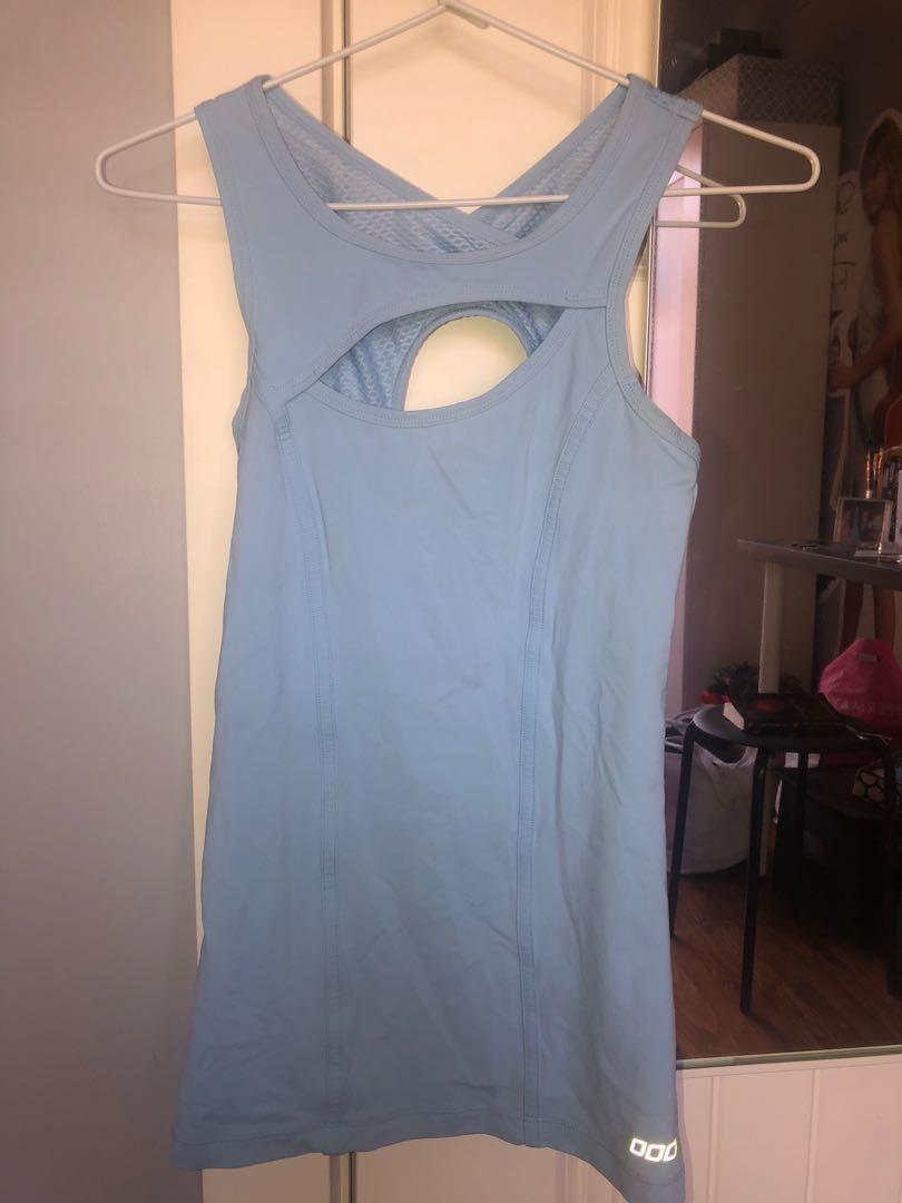 Lorna Jane Light Blue Activewear Asymmetrical  Cut Our Front Top XS/S