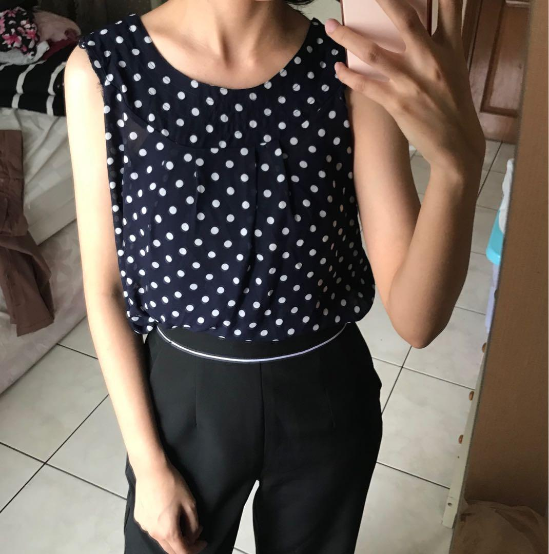 Navy Polka Top