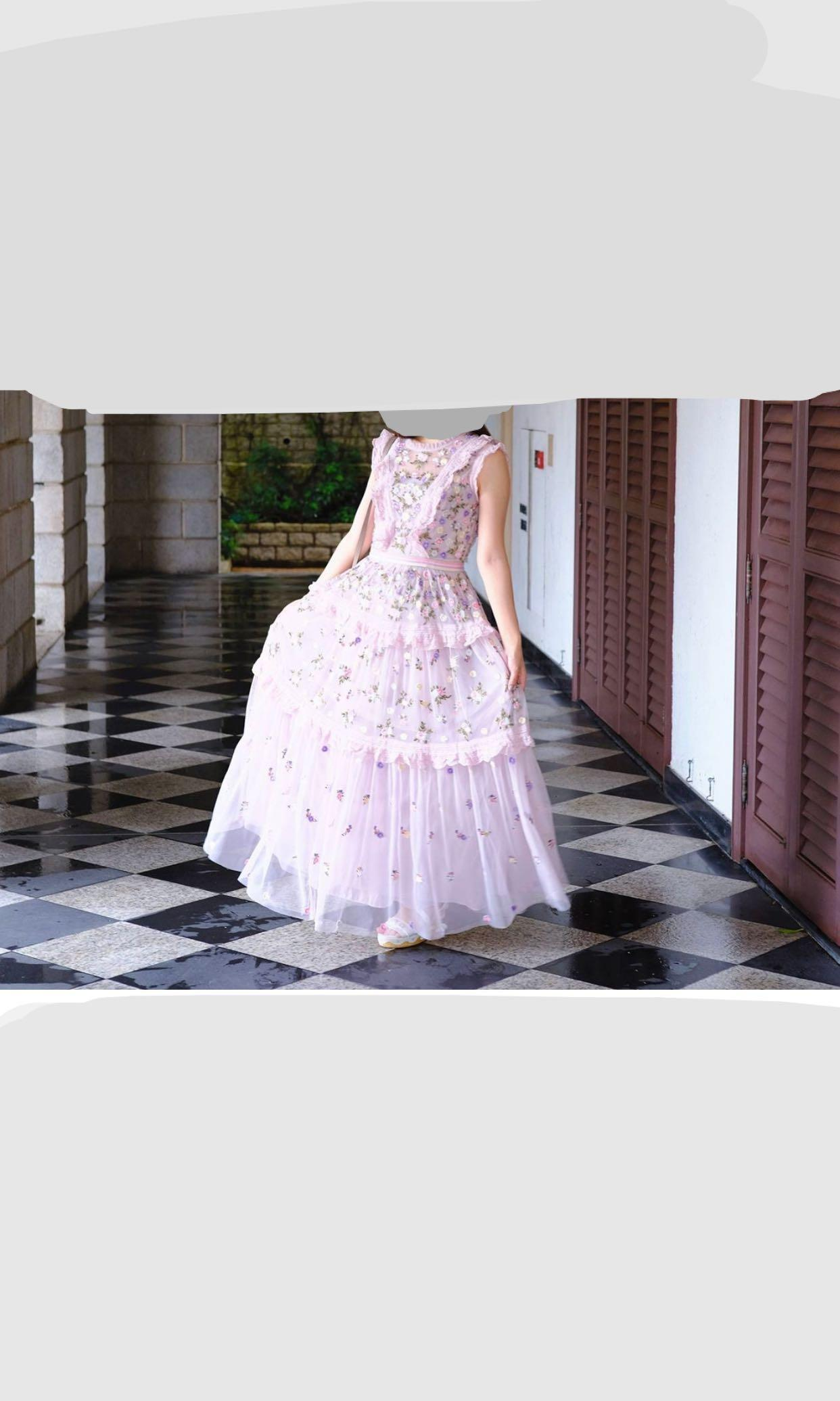 Needles & thread pink gown dress