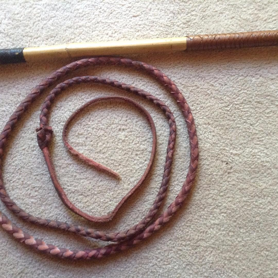 RED HIDE LEATHER PLAITED STOCKWHIP