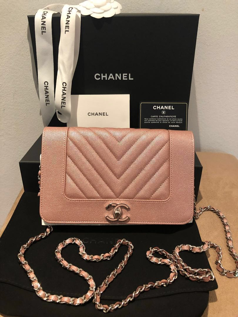 b749feac4ad3 RESERVED  Chanel 19P Iridescent Rose Gold woc wallet on chain bag ...