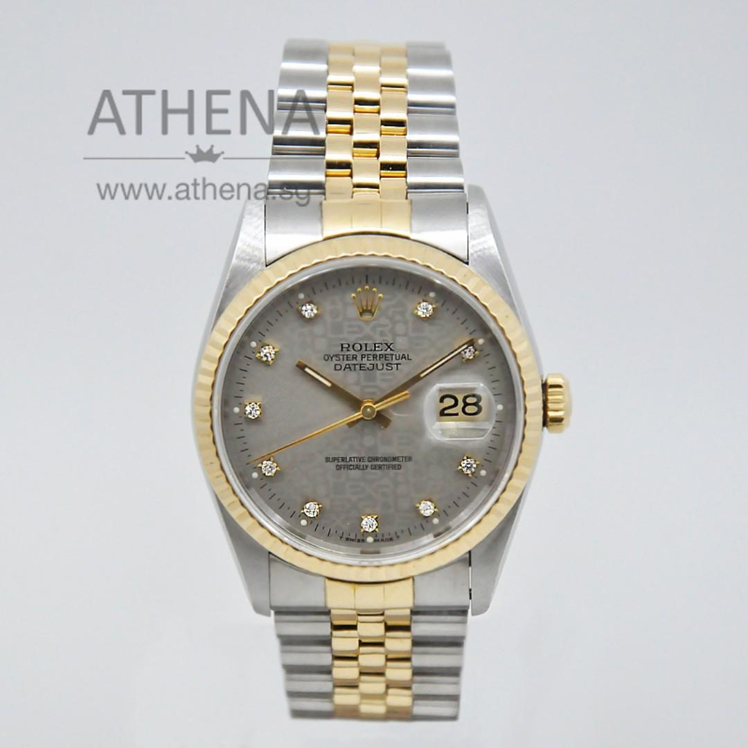 "ROLEX ""HALF-GOLD"" MENS OYSTER PERPETUAL DATEJUST ""S"" SERIES ""GREY JUBILEE DIAMOND DIAL"" 16233 JGWRL_308"