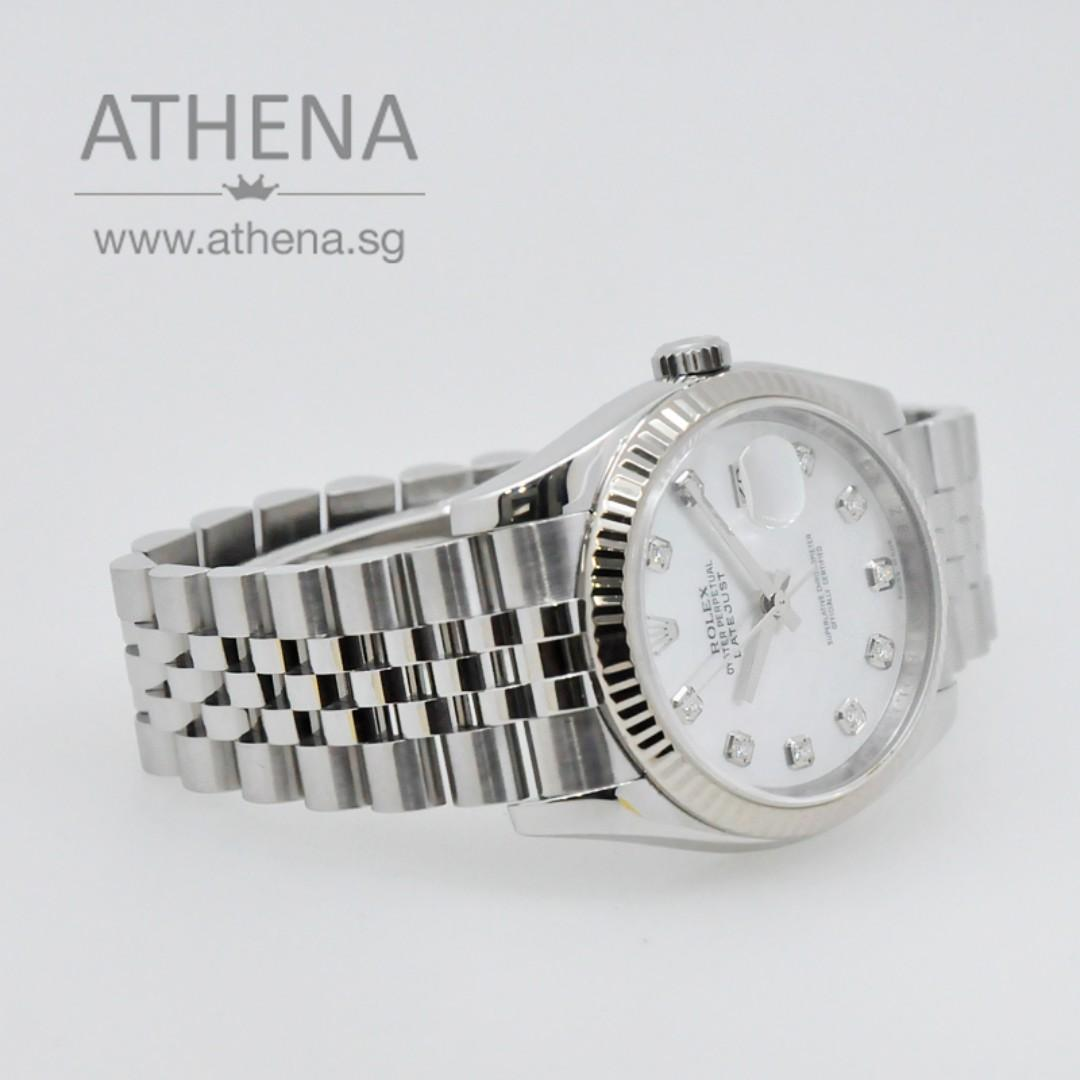 """ROLEX MENS OYSTER PERPETUAL DATEJUST """"Z"""" SERIES """"MOP DIAMOND DIAL"""" WITH CHAPTER RING 116234 WLWRL_974"""