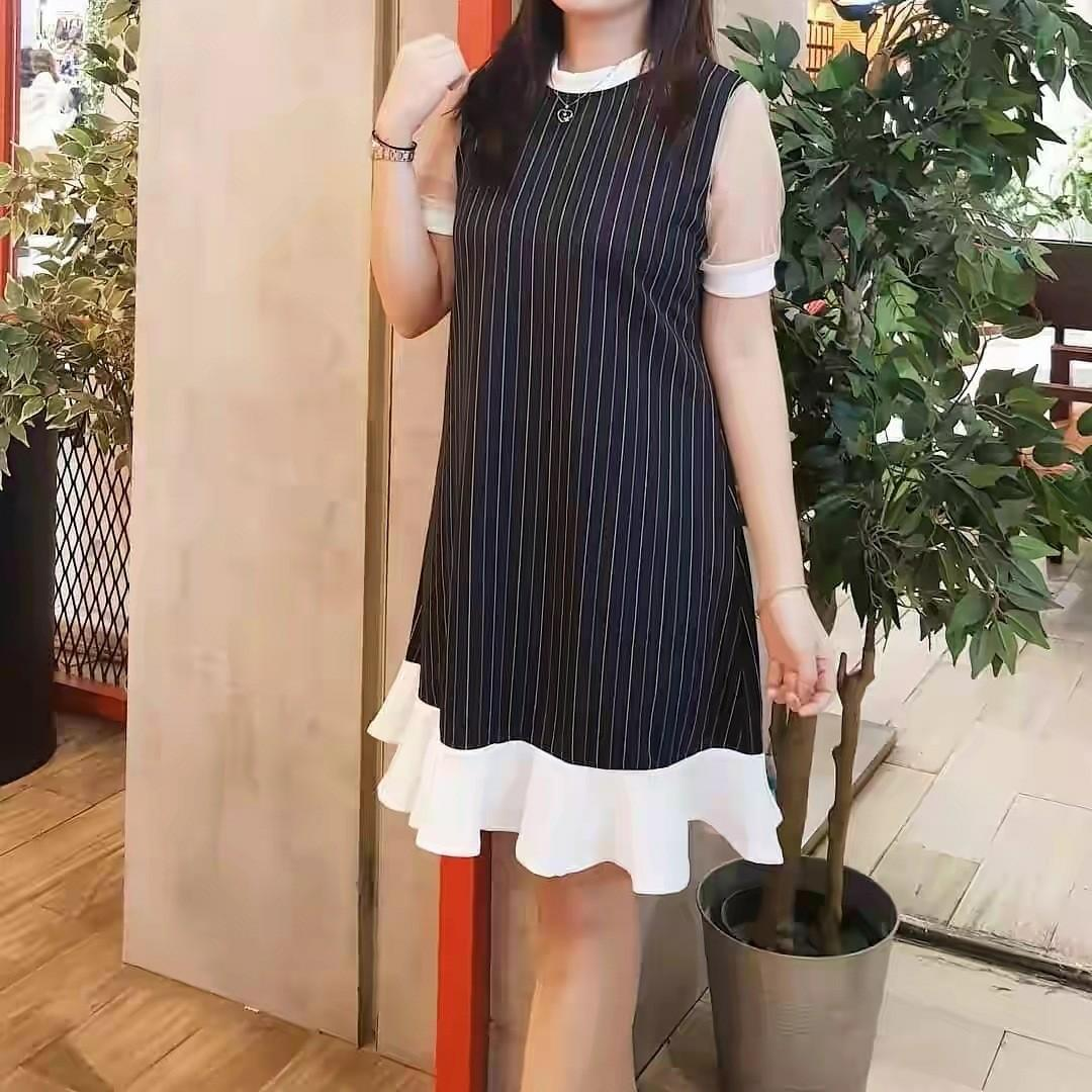 Rumple Stripe tile dress