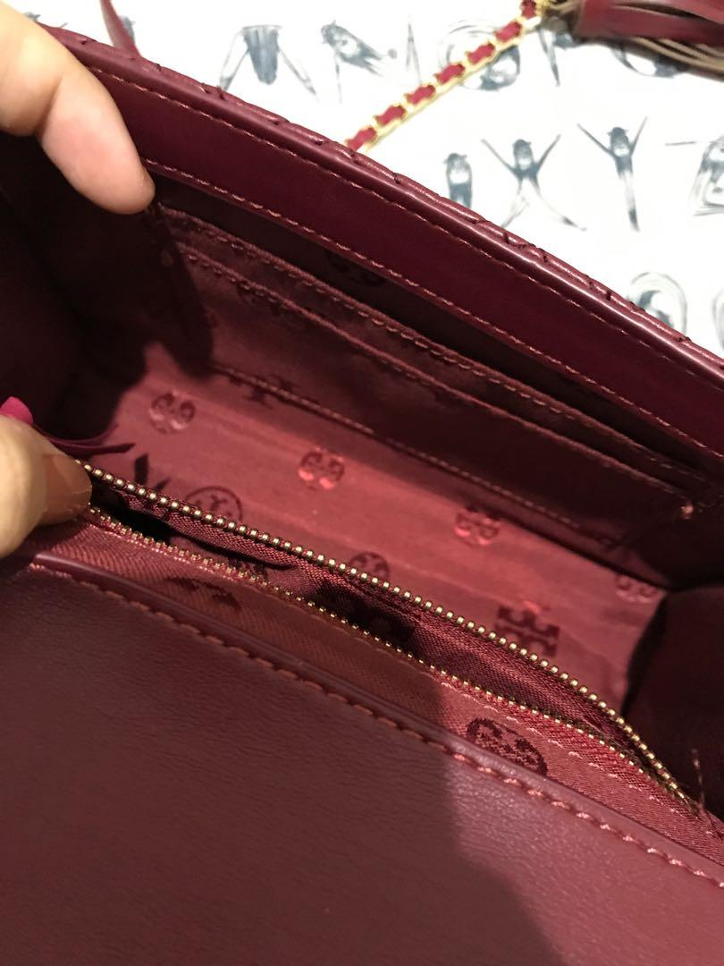 Tory Burch Fleming Convertible Maroon Bag