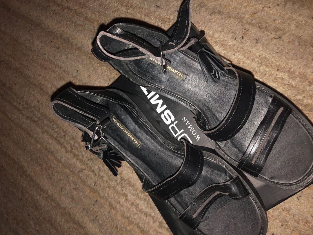 Windsor Smith Original Chunk Black Leather Tassel Heeled Sandals