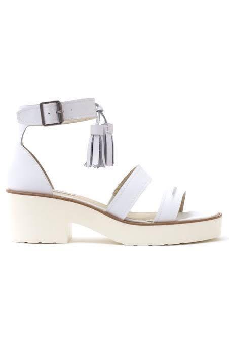 Windsor Smith Original Chunk White Leather Tassel Heeled Sandals