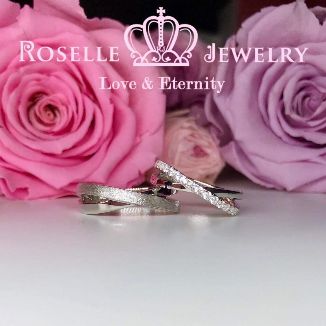 交叉簡約情侶對戒結婚戒指-WM5 RZ®人造鑽石