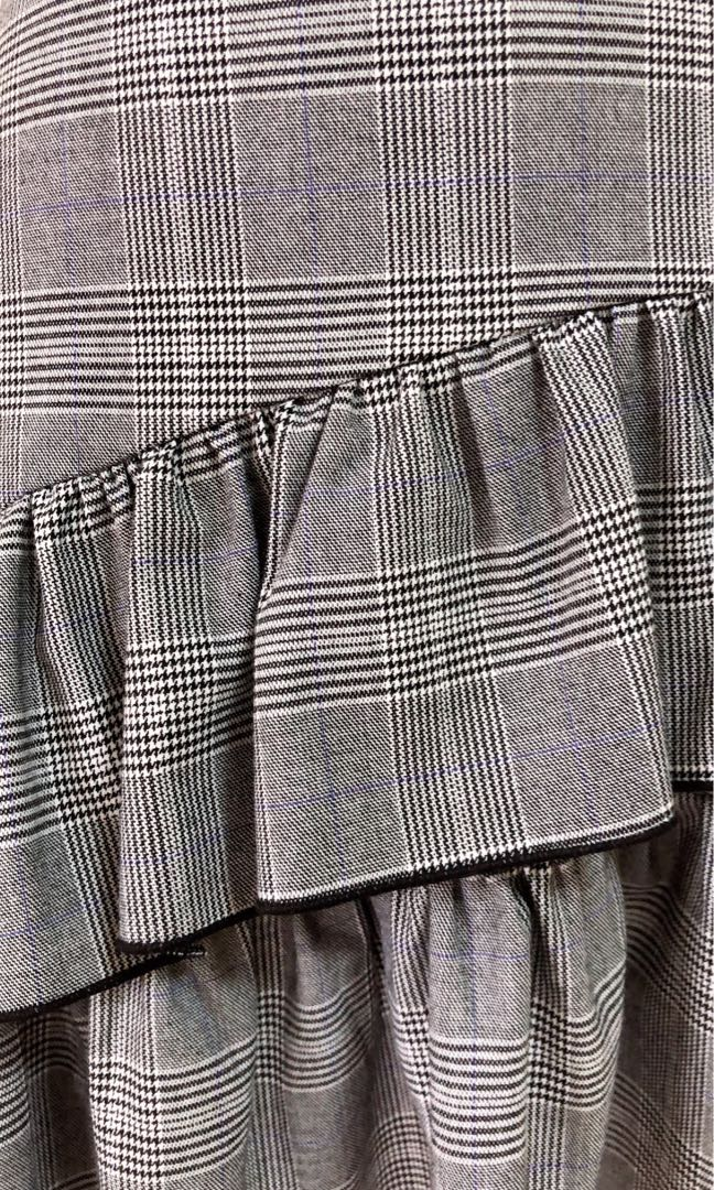 Zara - Grey Checkered Frills Skirt