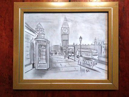 London Big Ben Sketch with Frame
