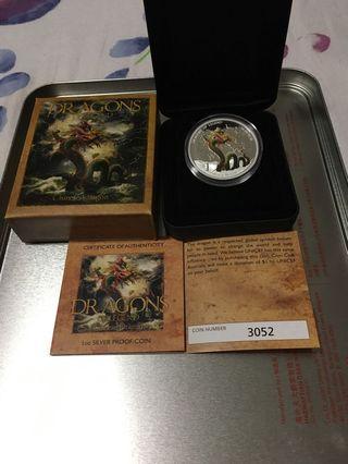 🚚 Rare 1oz silver dragon coin