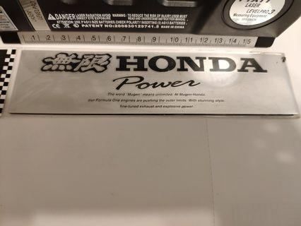 激罕絕版日本Honda無限Mugen Power貼紙 全新!