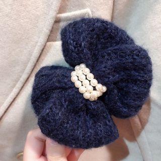 全新!正韓puree 深藍針織毛線珍珠 馬尾夾 香蕉夾