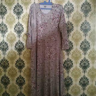 Gamis dress maxi abu silver besar
