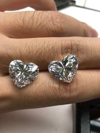GIA: 每邊10ct D色高淨度心型鑽石💎配對❤️❤️👍🌟💎💫😍
