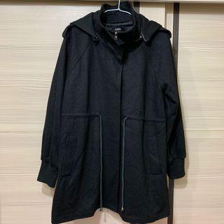 🚚 OZOC黑色可拆帽長版外套(降價)