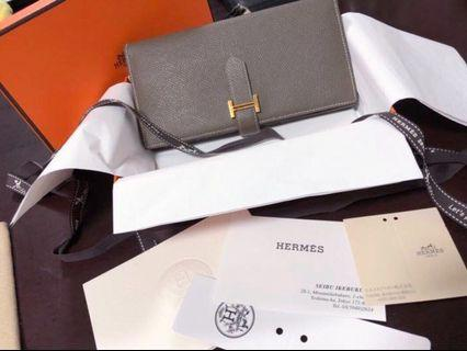 ★HERMES BEARN SOUFFLET LEATHER ETOUPE GREY GOLD LOGO FOLIO LONG WALLET - AVAILABLE FOR CASH OR INSTALLMENT BASIS