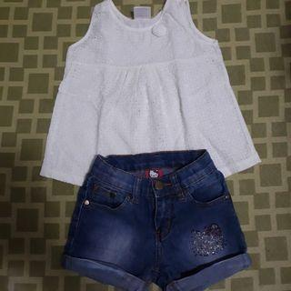 White Top and Denim Shorts