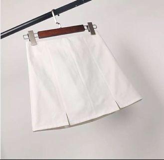 白色高腰小開衩窄裙 附安全褲防走光A字裙