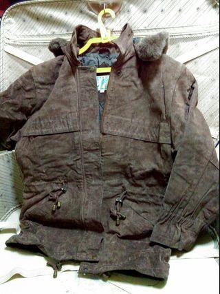🚚 麂皮外套,尺寸S,肩寬53/長度72cm,咖啡色。