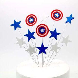 Captain America Cake Decorative Toppers