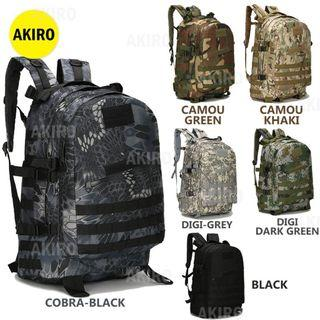 💥HOT ITEM💥AKIRO Army Military 3P PUBG Attack Tactical Backpack 40L Outdoor Travel Bag B01