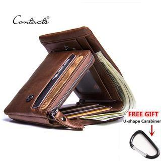 💥BEST ITEM💥CONTACT'S Genuine Crazy Horse Leather Men Wallets Vintage Trifold Zip Coin Purse
