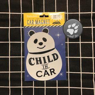 🚚 DECOLE 汽車用 反光磁鐵 熊貓款 Child in car 現貨 限量