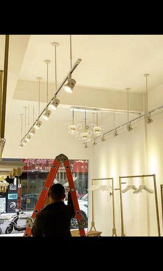 For hanging track lights - metal cables with ceiling mount