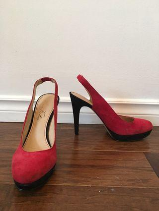Red and black suede high heels size 7.5