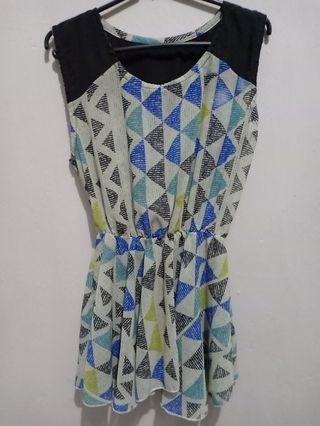 Blouse chiffon motif biru