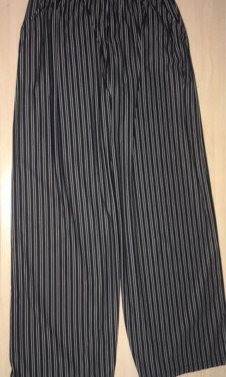 Black Striped Loose Pants