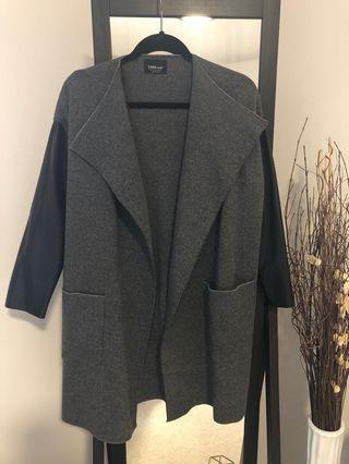 Zara dark grey and leather coat