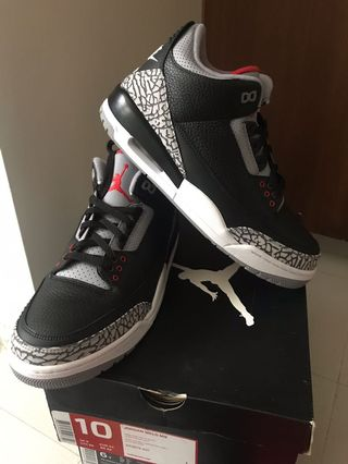 43774a593fa air jordan 3 Black cement US size 10