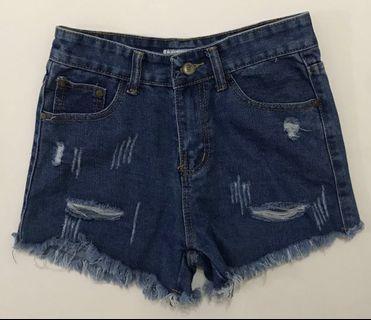 dark blue denim ripped shorts