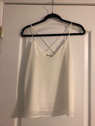 White Scallop Top Cami Size M