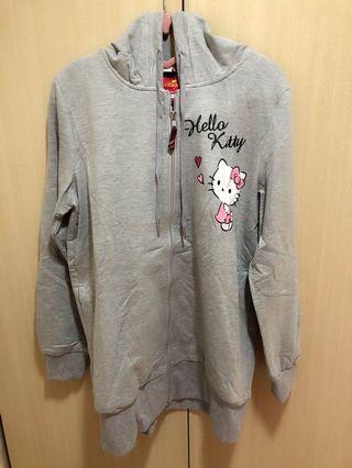 【Lily搬家出清】Scottish House X Hello Kitty 凱蒂貓 三麗鷗 格紋淺灰長版連帽外套 全新
