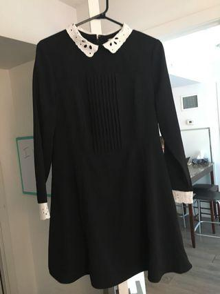 Black dress with white trim