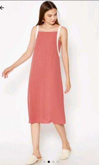 LAB julix contrast strap midi dress in pink