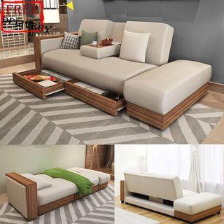 Sofa/Sofa bed/Cloth sofa/Storage sofa/Type F Black,Brown