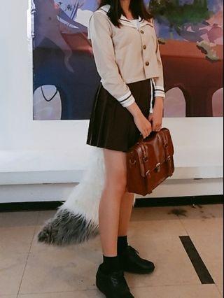 長袖日式學生制服(衣+裙)咖啡色