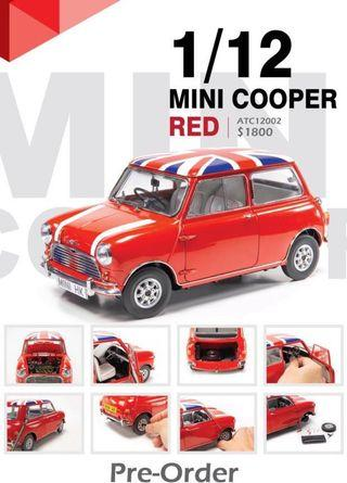 Tiny 1:12 Mini Cooper 紅色 英國旗頂及白色引擎蓋條紋(預訂發售)