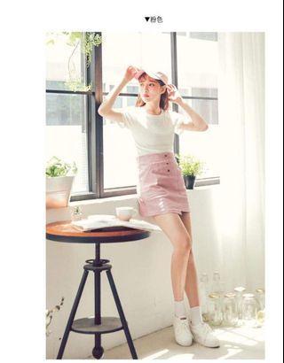 🚚 素面拉鍊式雙口袋短裙(粉)