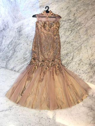party dusty pink and gold dress